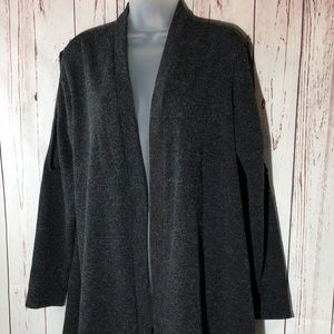 Cardigan Sweater Open Front Cold Shoulder Gray